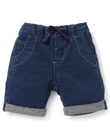 Fox Baby Plain Turn Up Shorts With Drawstring - Deep Blue