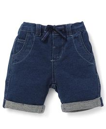 Fox Baby Plain Turn Up Shorts With Drawstring - Deep Blue