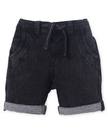 Fox Baby Plain Turn Up Shorts With Drawstring - Black
