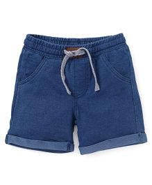 Fox Baby Plain Turn Up Shorts With Drawstring - Blue