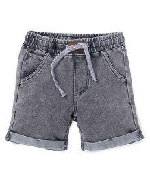 Fox Baby Plain Turn Up Shorts With Drawstring - Grey