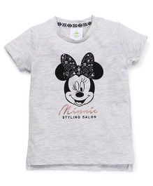 Fox Baby Half Sleeves Tee With Minnie Mouse Print - Light Grey
