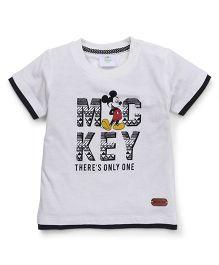 Fox Baby Half Sleeves Tee Mickey Print - Off White