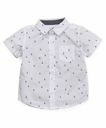 Fox Baby Half Sleeves Shirt Anchors Print - White