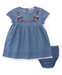 Fox Baby Short Sleeves Denim Frock With Bloomer Floral Embroidery - Blue