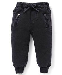 Fox Baby Jeans With Drawstring - Dark Grey
