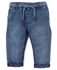 Fox Baby Jeans With Drawstring And Turn Up Hem - Blue