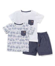Fox Baby Half Sleeves Pack Of 2 T-shirt With Shorts - Grey White