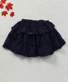 Soul Fairy Georgette Ruffle Skirt With Bow - Navy Blue