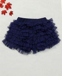 Soul Fairy Net Ruffle Divided Skirt - Navy Blue