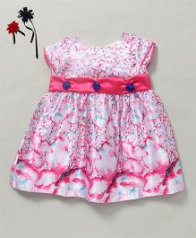 Soul Fairy Butterfly Print Dress With Sash On Waist - Pink