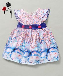 Soul Fairy Butterfly Print Dress With Sash On Waist - Blue