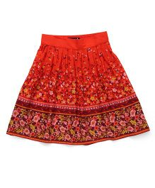 Highflier Floral Print Skirt With Elastic Waistband At The Back - Orange