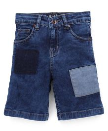 Highflier Denim Shorts With Patch - Blue
