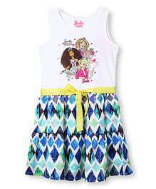 Barbie Sleeveless Dress With Marble Print Tiered Skirt - Multi Color