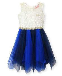 Barbie Sleeveless Ruffled Party Dress Dual Tone - Off White Blue