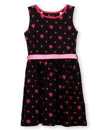 Barbie Sleeveless Casual Dress Heart Print - Black