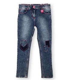 Barbie Denim Full Length Jeans With Patch Details - Blue