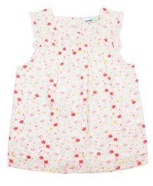 ShopperTree Sleeveless Top Floral Print - White & Multicolor