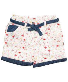 ShopperTree Printed Shorts With Fabric Belt - Multicolor