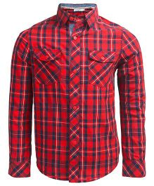 ShopperTree Full Sleeves Checks Shirt With Twin Pockets - Red Navy