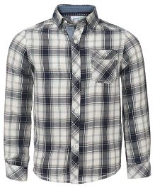 ShopperTree Full Sleeves Checks Shirt - Navy Blue White