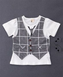 100 Kids Mock Style Waistcoat T-Shirt With Tie Print - White