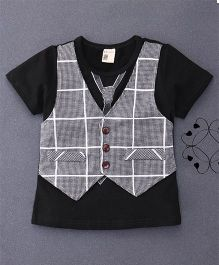 100 Kids Mock Style Waistcoat T-Shirt With Tie Print - Black