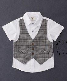 100 Kids Checkered Mock Style Waistcoat Shirt - Grey
