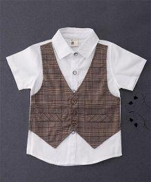 100 Kids Checkered Mock Style Waistcoat Shirt - Brown