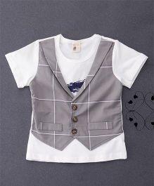 100 Kids Mock Style Waistcoat T-Shirt - White