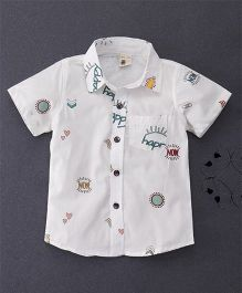 100 Kids Happy Print Shirt With Patch Pocket - White