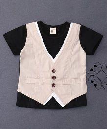 100 Kids Mock Style Waistcoat T-Shirt - Black