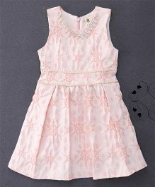100 Kids Floral Embroidery Dress - Peach