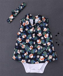 Happiness Flower Print Dress Style Onesie - Multicolour