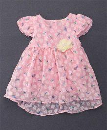 Smile Rabbit Cap Sleeves Flower Print Dress - Pink