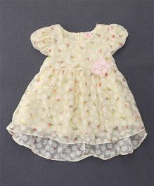 Smile Rabbit Cap Sleeves Flower Print Dress - Yellow