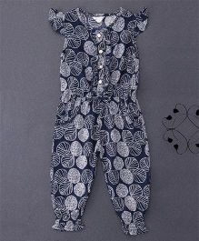 Happiness Leaf Printed Jumpsuit - Dark Blue
