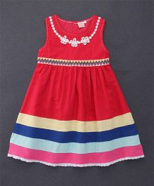 Smile Rabbit Embroidered Design Sleeveless Dress - Red