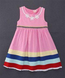 Smile Rabbit Embroidered Design Sleeveless Dress - Light Pink