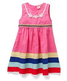 Smile Rabbit Embroidered Design Sleeveless Dress - Pink