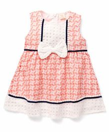 Smile Rabbit Bow Applique Dress - Coral