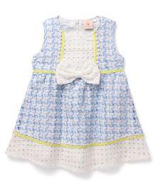 Smile Rabbit Bow Applique Dress - Blue