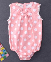 Happiness Dot Printed Bow Applique Onesie - Pink