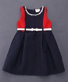 Smile Rabbit Pretty Dress With Belt - Navy Blue