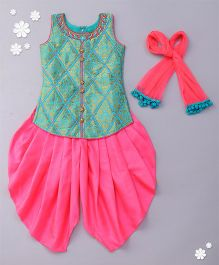 Babyhug Sleeveless Kurti And Dhoti Style Salwar With Dupatta - Green Pink