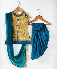 Babyhug Sleeveless Kurti And Dhoti Style Salwar With Dupatta - Golden Yellow Royal Blue