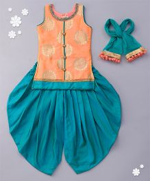 Babyhug Sleeveless Kurti And Dhoti Style Salwar With Dupatta - Orange Blue