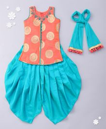 Babyhug Sleeveless Kurti And Dhoti Style Salwar With Dupatta - Peach Turquoise Green