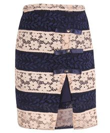 Cutecumber Floral Skirt Embellished With Ribbon Bow - Navy & Cream